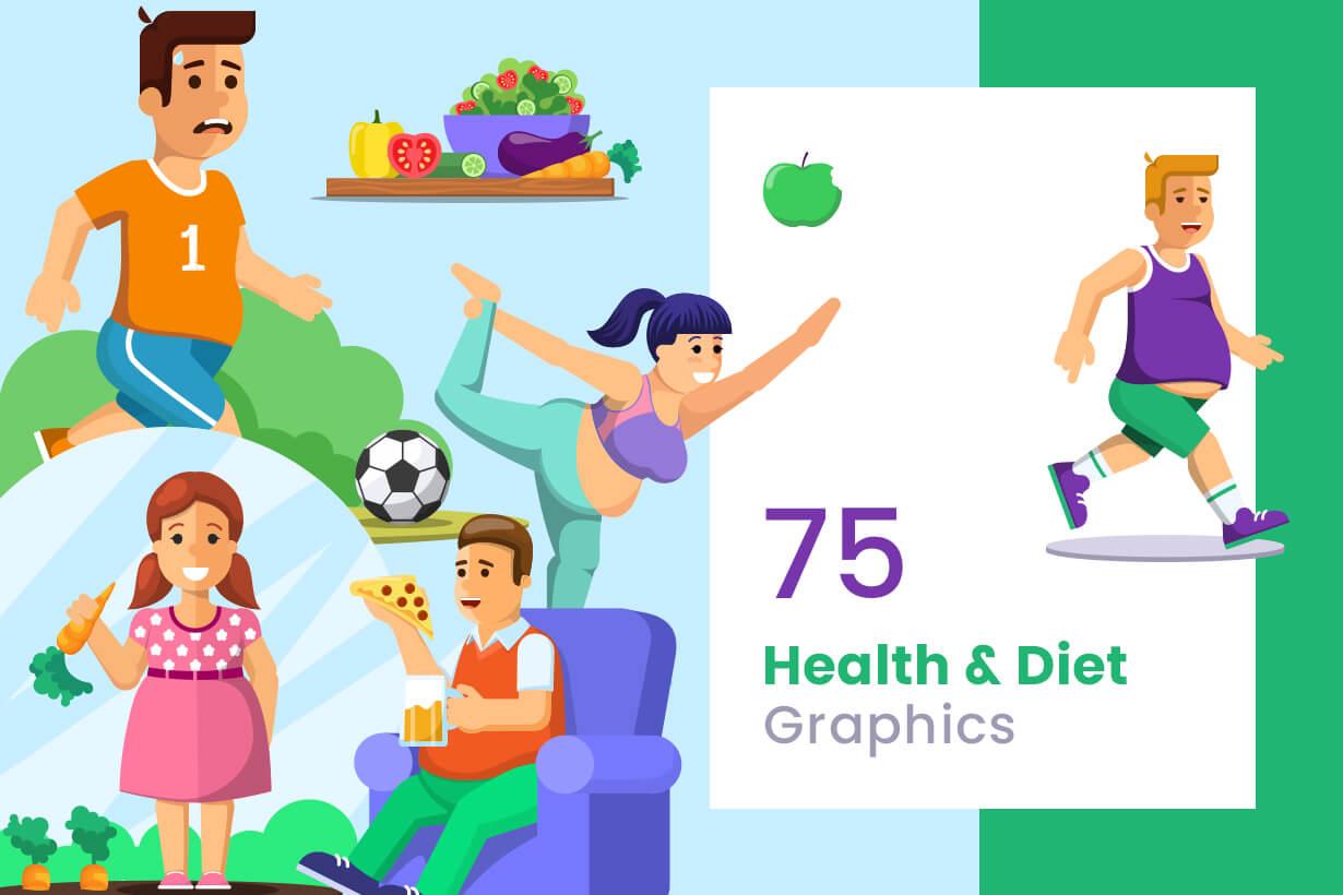 Gym and Diet Vectors - Mega Bundle