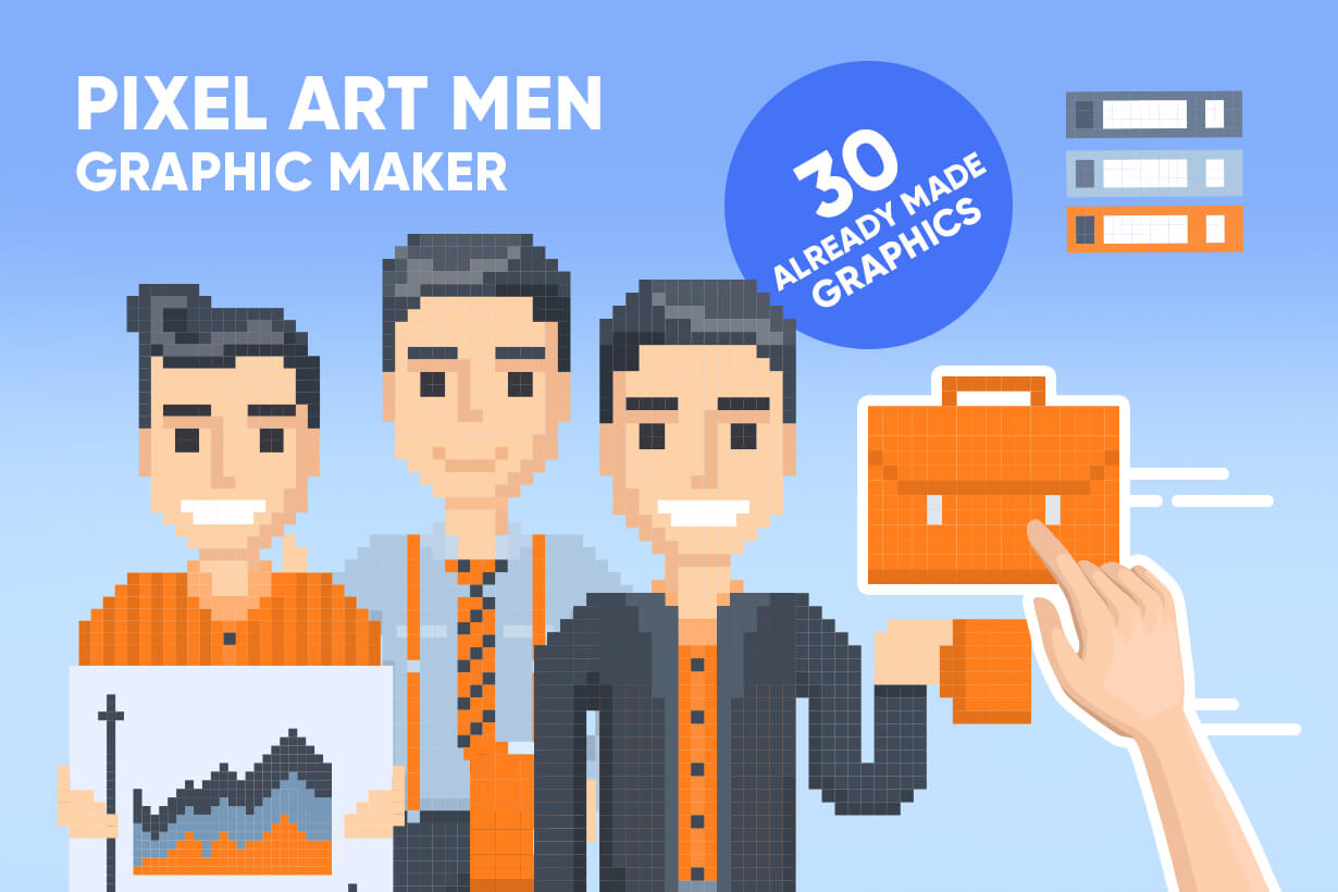 Pixel Art Maker | Create 8 Bit Man Vector Graphic