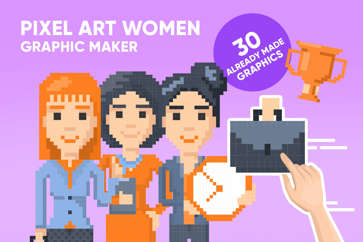 Pixel Art Maker | Create 8 Bit Woman Vector Graphic