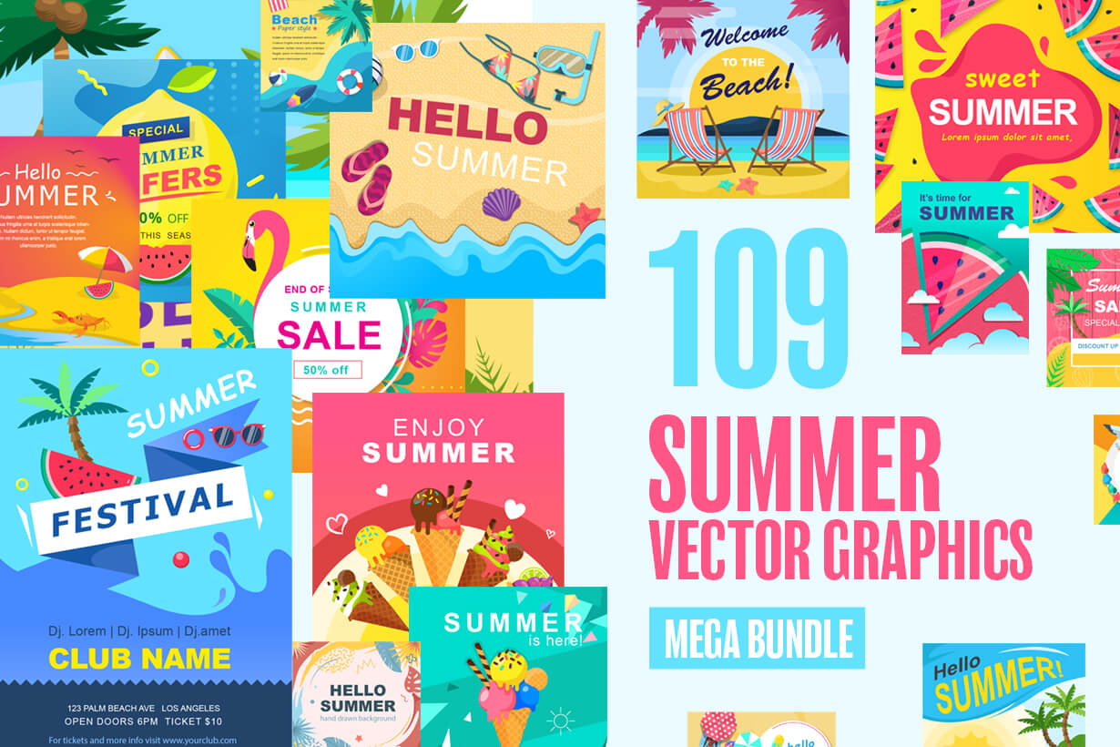 Summer Vector Graphics - Mega Bundle