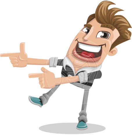 Funny Man Cartoon Vector Character AKA Oscar Spiked-up