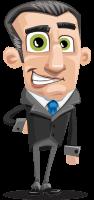 Funny Businessman Cartoon Vector Character AKA Frank