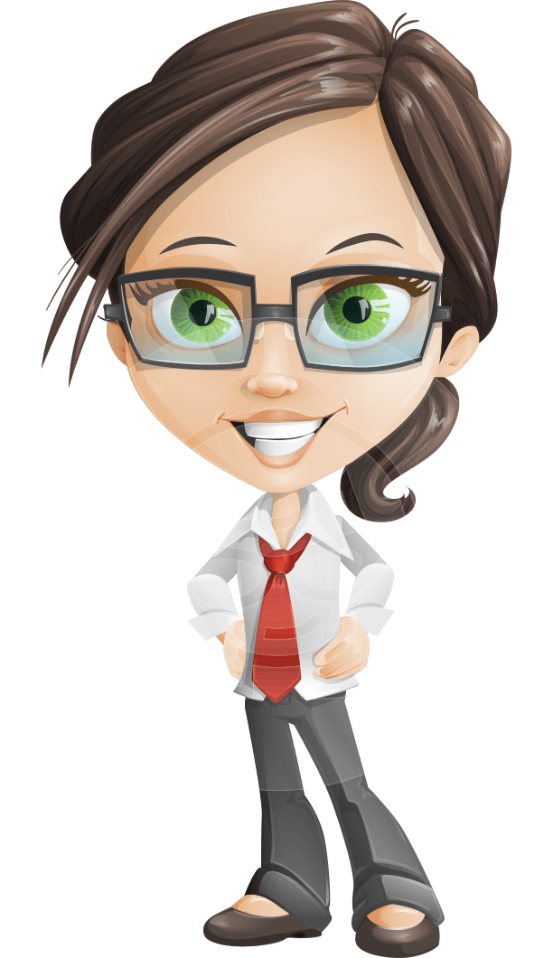 Little Business Girl Cartoon Vector Character AKA Nikki the Cute Geeky