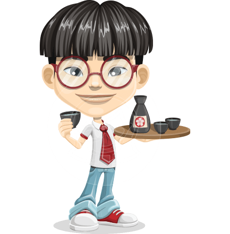 Asian School Boy Cartoon Vector Character AKA Jeng Li