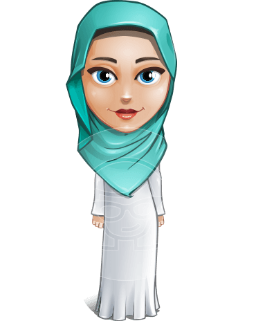 Cute Muslim Girl Cartoon Vector Character AKA Aida the Graceful