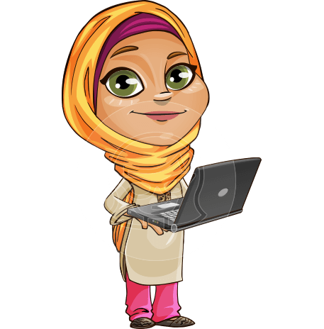 Muslim School Girl Cartoon Vector Character AKA Nasira
