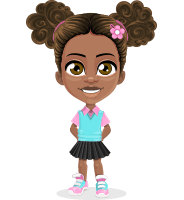 African American School Girl Cartoon Vector Character AKA Anita