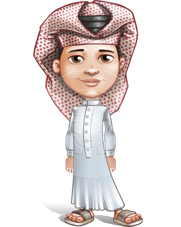 Little Muslim Boy Cartoon Vector Character AKA Nabil