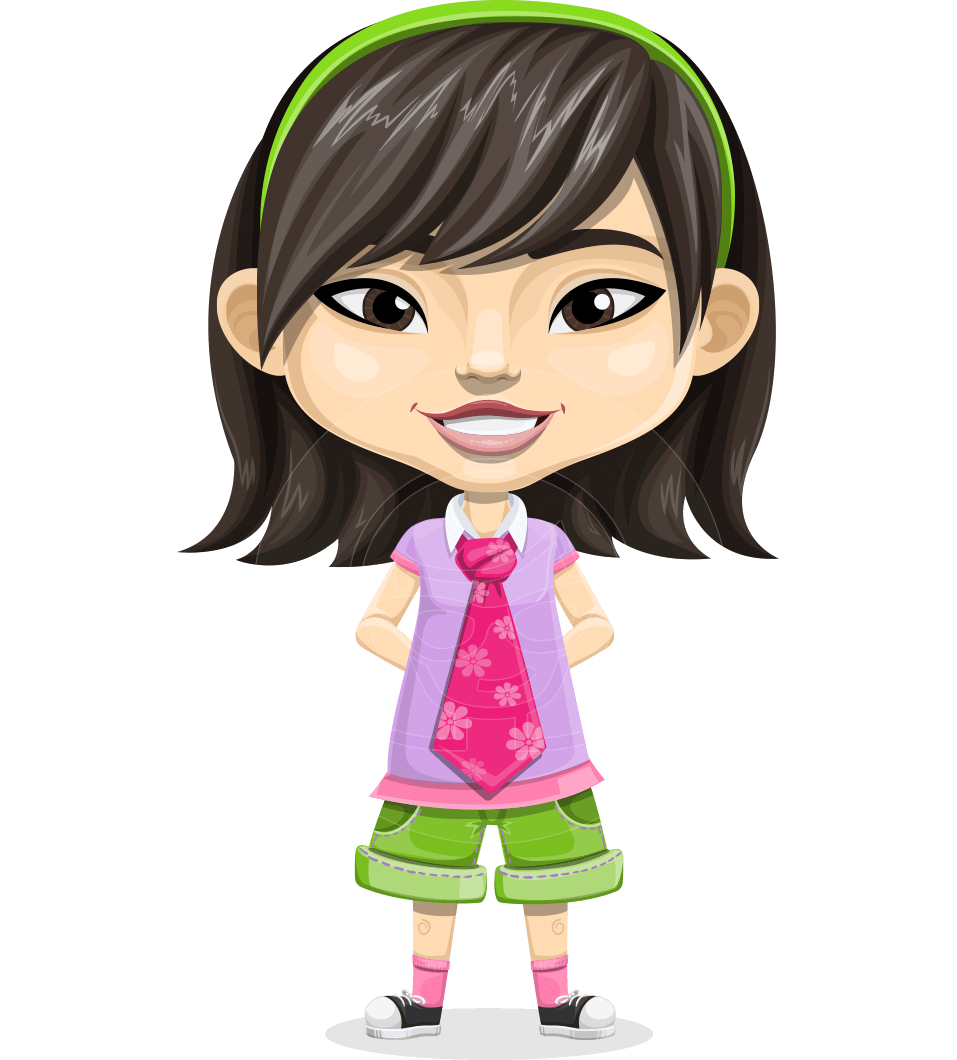 Asian School Girl Cartoon Vector Character AKA Ah Cy
