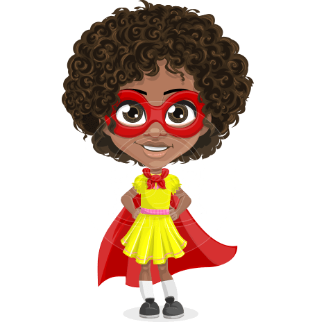 Cute Curly African American Girl Cartoon Vector Character AKA Alana