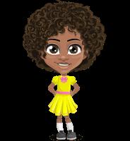 Cute Curly African American Girl Cartoon Vector Character AKA Alana