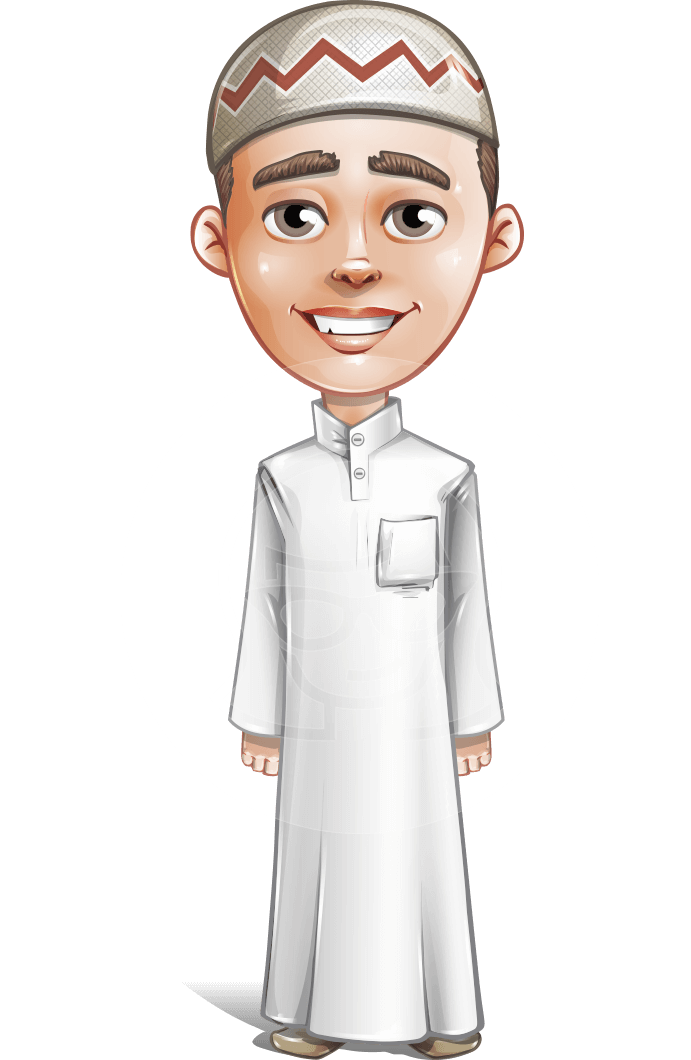 Cute Arab Boy Cartoon Vector Character AKA Hanif