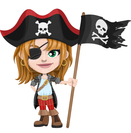Cute Pirate Girl Cartoon Vector Character AKA Madison