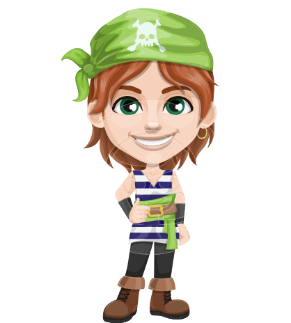 Little Pirate Kid Cartoon Vector Character AKA Eddie