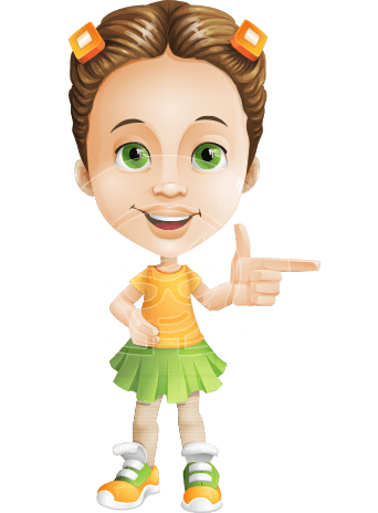 Little Girl with Skirt Cartoon Vector Character AKA Little Missy Mia