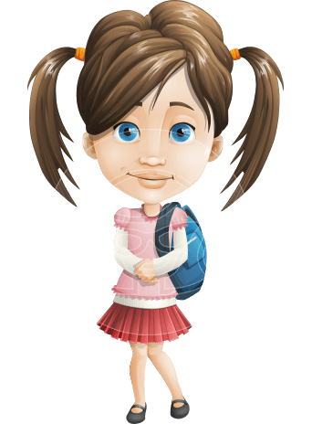 Elementary School Student Girl Cartoon Vector Character AKA Creative Jun