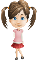Elementary School Student Girl Cartoon Vector Character AKA Creative Jun