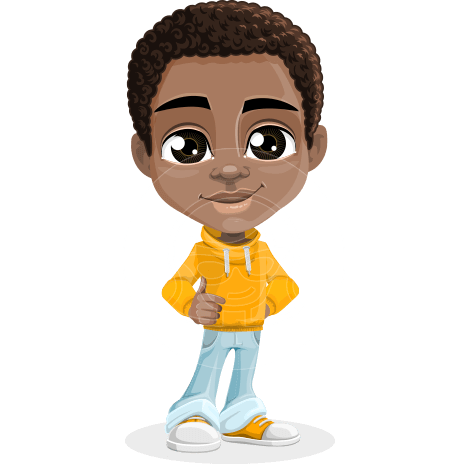 African American School Boy Cartoon Vector Character AKA Jorell