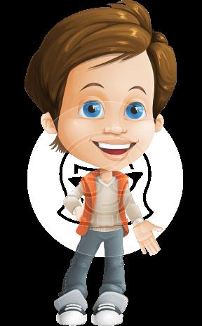 Playful Boy Cartoon Vector Character AKA Richie in Playground