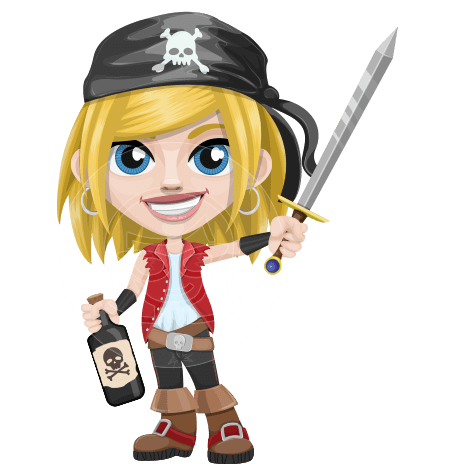 Girl with Pirate Costume Cartoon Vector Character AKA Dea