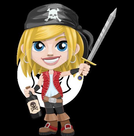 Girl with Pirate Costume Cartoon Vector Character AKA Dea