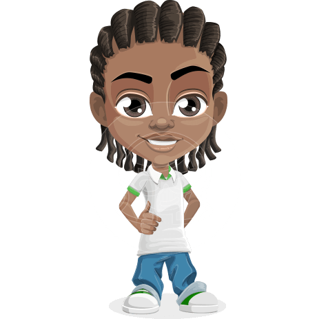 Cute African American Boy Cartoon Vector Character AKA Mason the Cool Boy