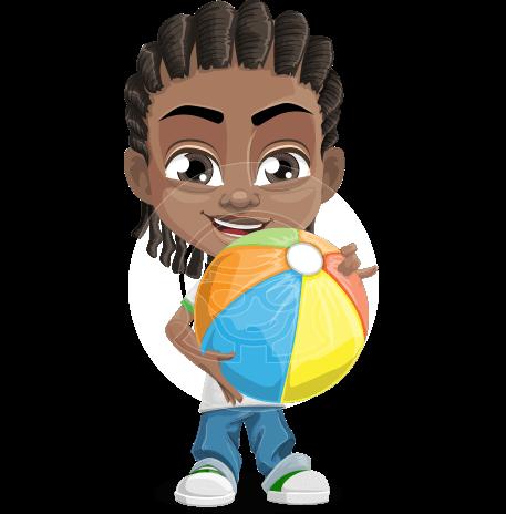 Cute African American Boy Cartoon Vector Character AKA Mason the Cool Boy