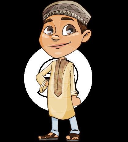 Muslim School Boy Cartoon Vector Character AKA Akeem