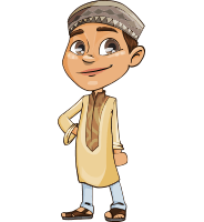 Muslim School Boy Cartoon Vector Character AKA Akeem
