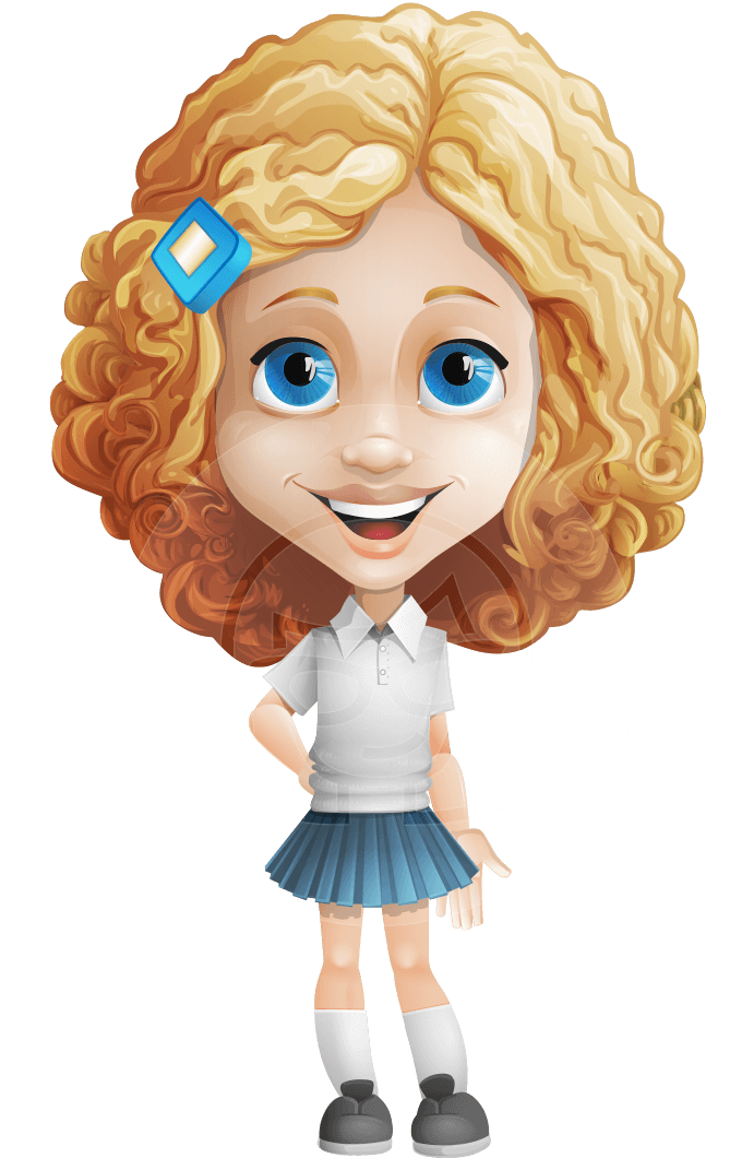 Little Blonde Girl with Curly Hair Cartoon Vector Character AKA Ella Sugarsweet