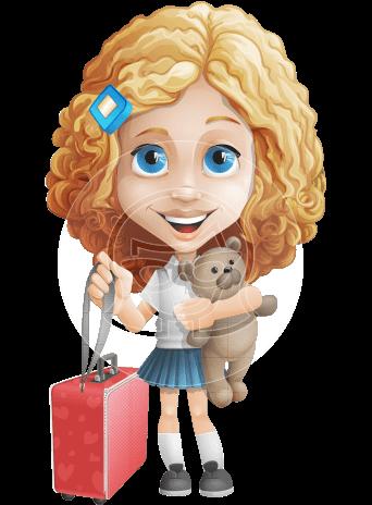 Little Blonde Girl with Curly Hair Cartoon Vector Character AKA Ella Sugarsweet