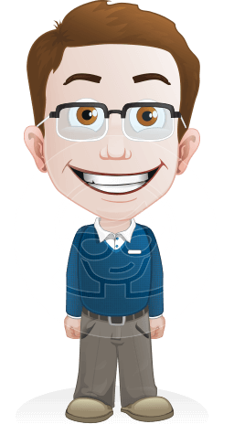 Smart Little Kid with Glasses Cartoon Vector Character AKA Marcus