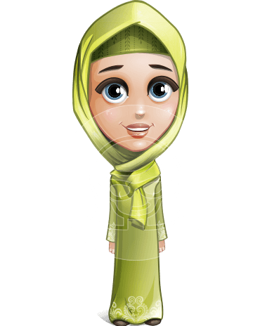 Cute Arab Girl Cartoon Vector Character AKA Budur Happiness