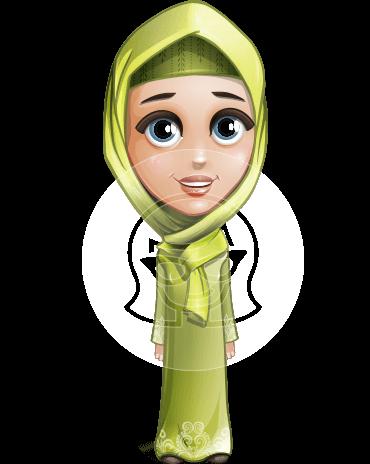 Cute Arab Girl Cartoon Vector Character AKA Budur Happiness