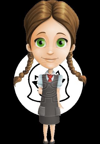 School Girl with Uniform Cartoon Vector Character AKA Viola