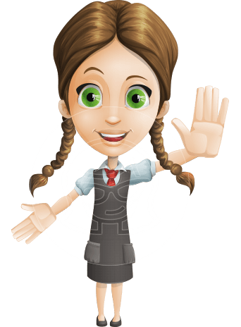 School Girl with Uniform Cartoon Vector Character AKA Viola