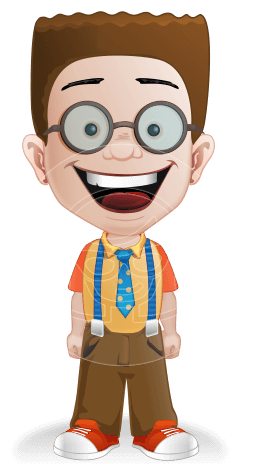Little School Boy with Glasses Cartoon Vector Character AKA Nicholas