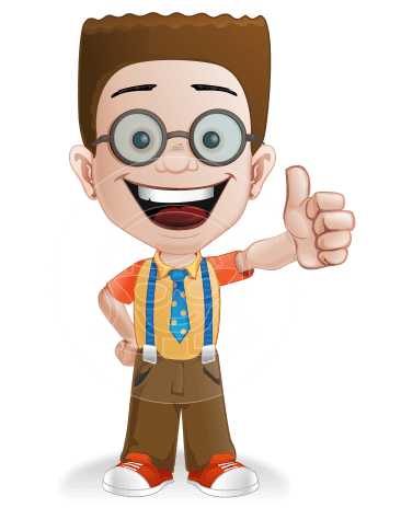 Little School Boy with Glasses Cartoon Vector Character AKA Nicholas