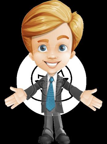 Business Kid Cartoon Vector Character AKA Sid