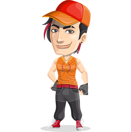 Male Dancer Cartoon Vector Character AKA Fudo