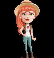 Cartoon Adventure Girl Cartoon Vector Character AKA Adeline