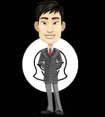 Corporate Asian Man Cartoon Vector Character AKA Feng Chen