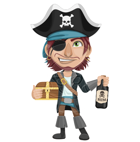 Funny Pirate Cartoon Vector Character AKA Pirate Tim Mustaches