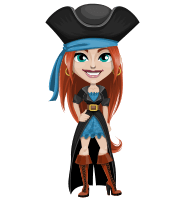Woman Pirate Cartoon Vector Character AKA Brianna the Fearless