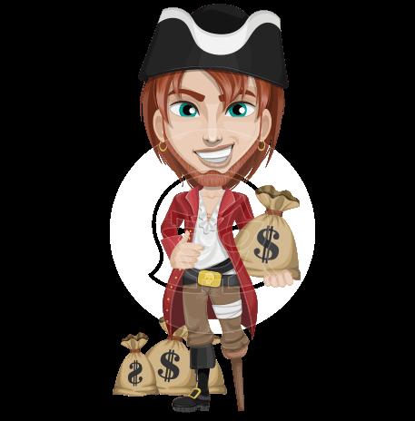 Pirate with Beard Cartoon Vector Character AKA Seth