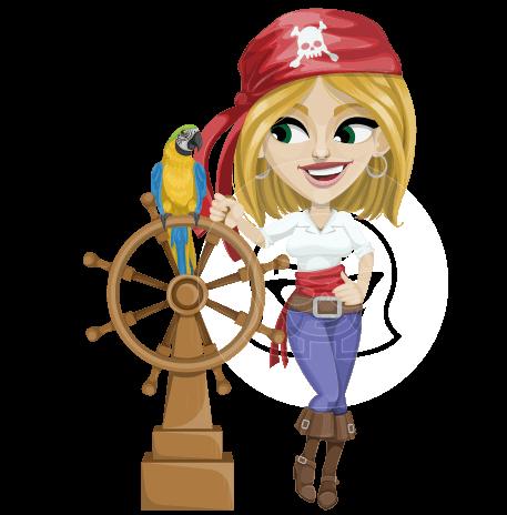 Blonde Female Pirate Cartoon Vector Character AKA Nicole