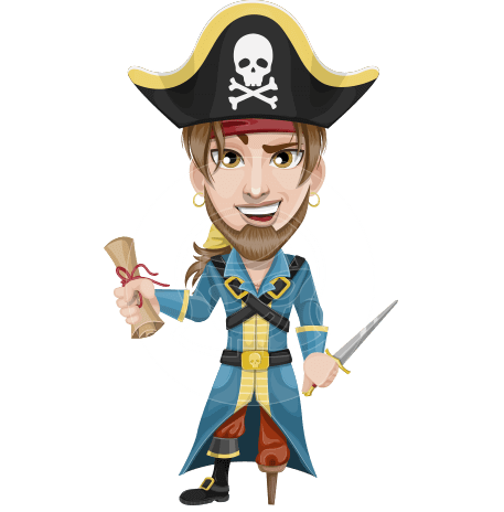 Peg Leg Pirate Cartoon Vector Character AKA Captain Austin
