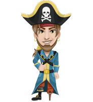 Peg Leg Pirate Cartoon Vector Character AKA Captain Austin