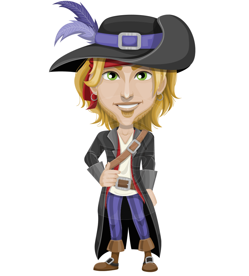 Man with Pirate Costume Cartoon Vector Character AKA Captain Jerad