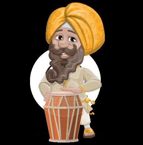Indian Man With Turban Cartoon Vector Character AKA Virat